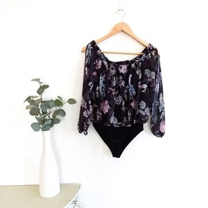 Forever New Size 8 Black Floral Chiffon Body Suit